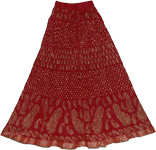 Dark Burgundy Crinkle Long Skirt