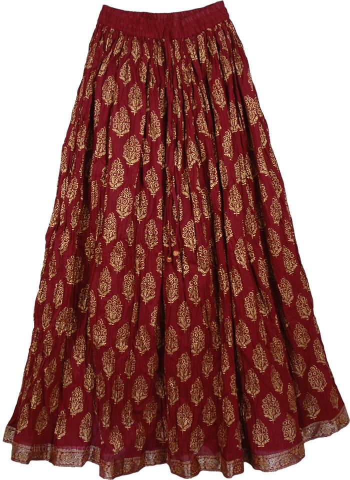 Crinkle Long Skirt In Moccaccino, Radiance Crinkled Cotton Skirt