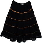 Bohemian Copper Ribbon Georgette Black Skirt