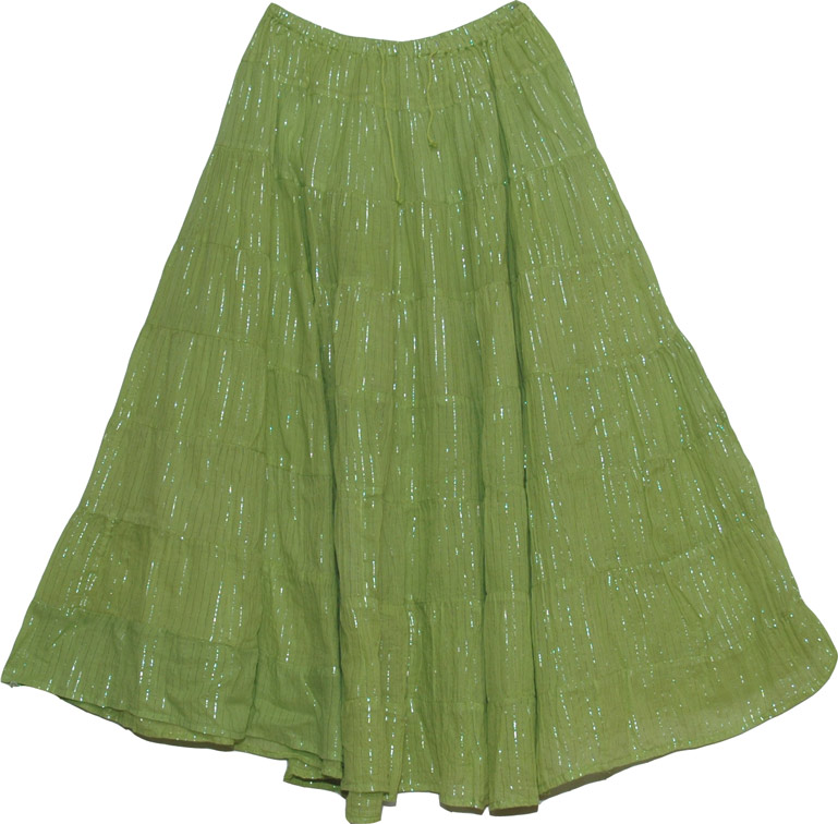 Asparagus Silver Tinsel Cute Skirt