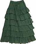 Long Green Layered Skirt