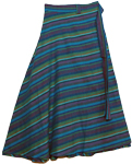 Aqua Boho Cotton Long Skirt