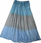 Blue Gray Bohemian Skirt With Mirrors
