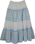 Happy Blues Lace Cotton Long Skirt