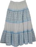 Happy Blues Lace Cotton Long Skirt