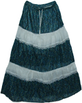 Blueberry Lace Cotton Long Skirt