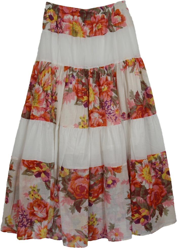 White Flowers Long Indian Lace Skirt, Garden White Cotton Long Skirt