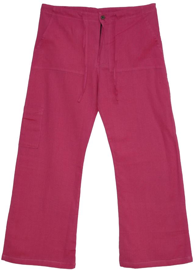 Boho Pants Cotton Plain Pink, Pink Pop Linen Lounge Pants