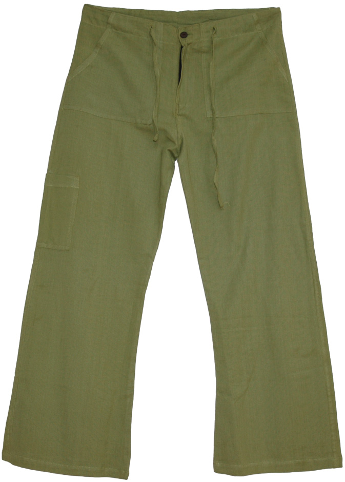Boho Pants Cotton Plain Green, Olive Plain Lounge Pants