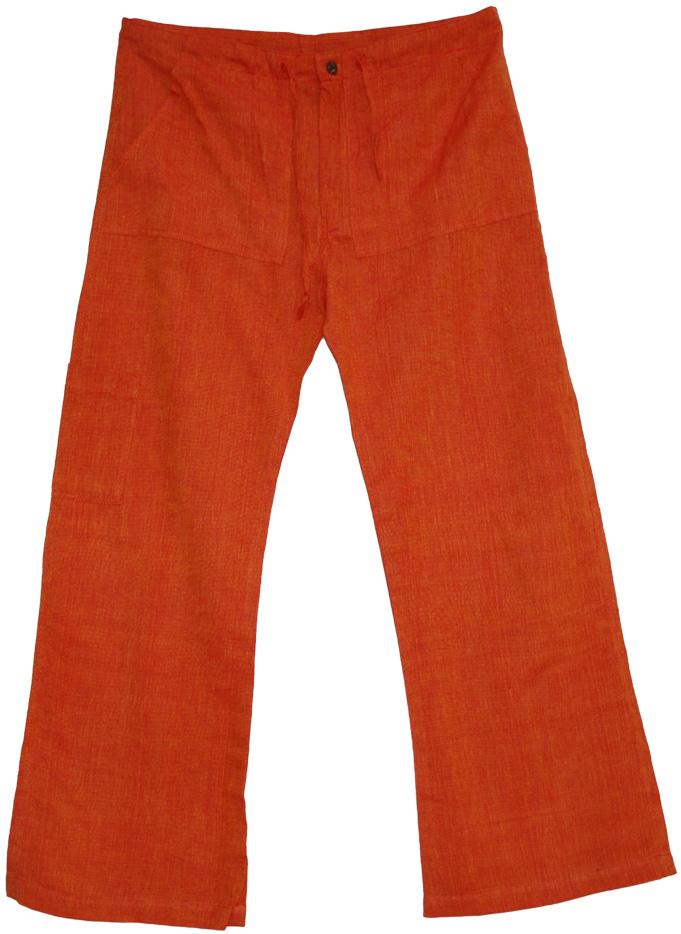 Boho Pants Cotton Plain Orange, Orange Grove Plain Lounge Pants