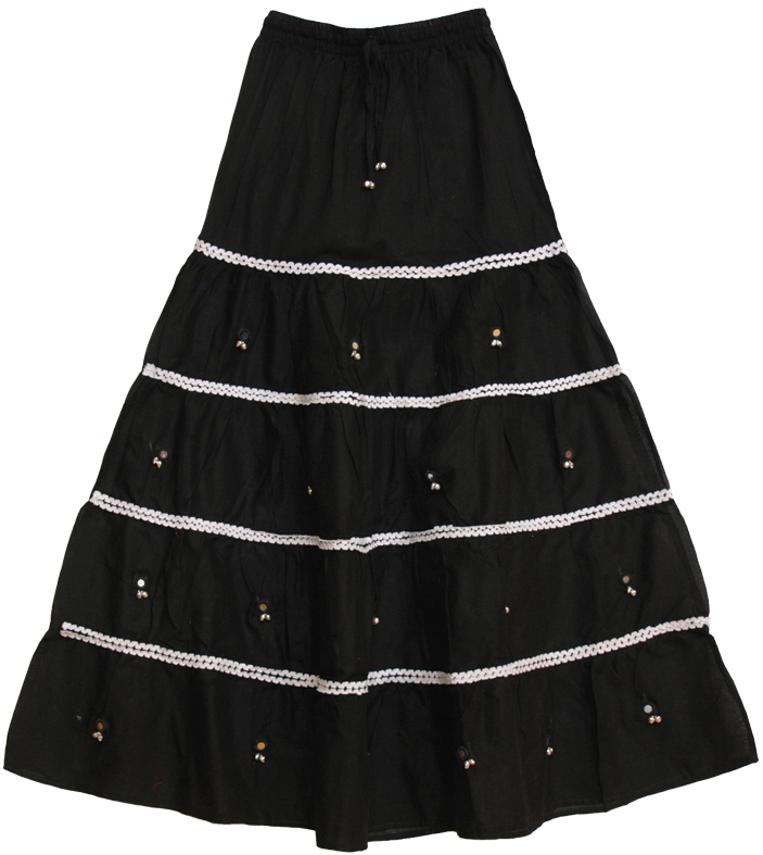 Black Indian Long Skirt with Bells, Bell-o-Rama Black Skirt with White Lace