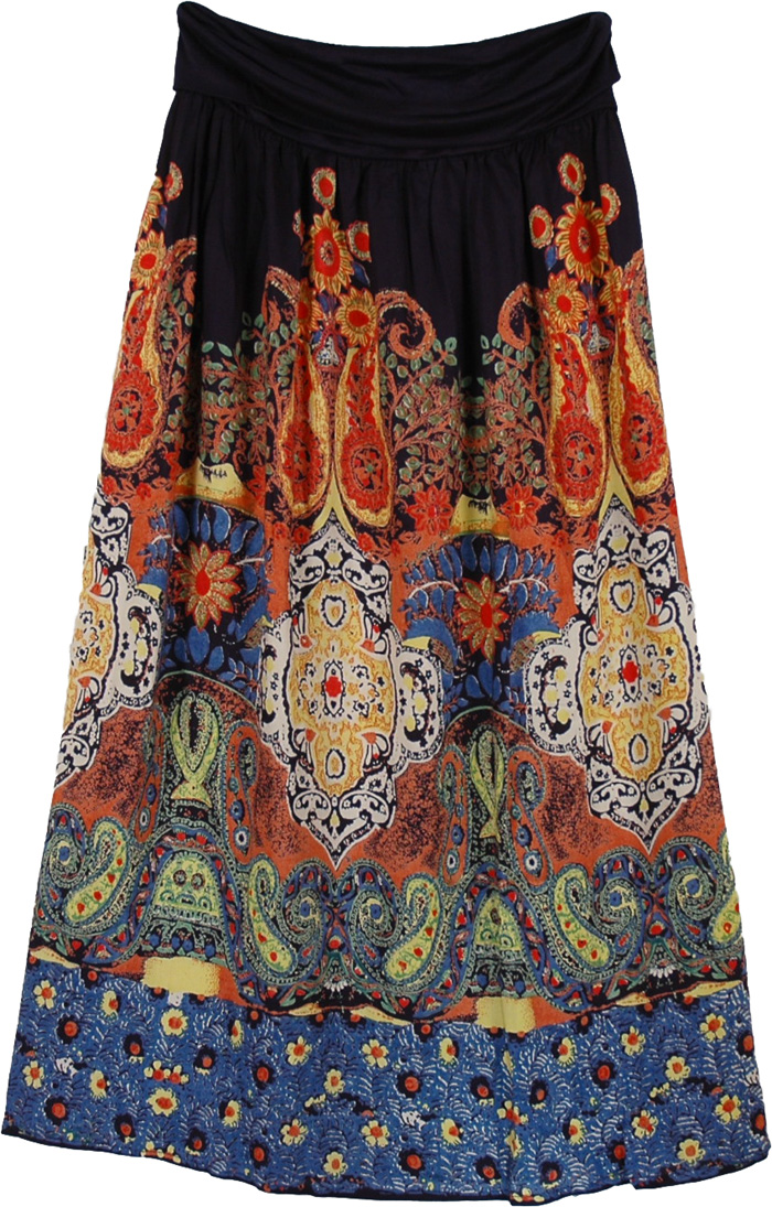 Blue Comfortable Print Long Skirt, Feminine Soft Modern Skirt