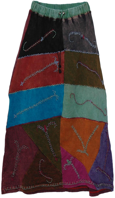 Boho Patchwork Himalayan Skirt, Sacajawea Boho Patchwork Long Skirt Petite