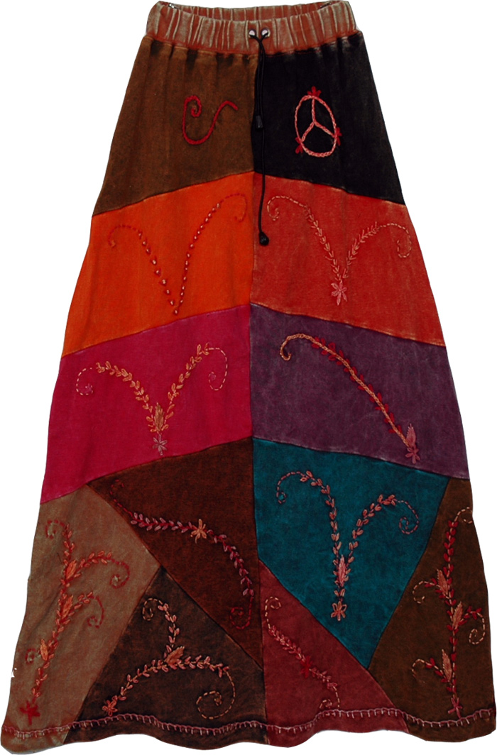 Bright Bohemian Tribal Long Skirt