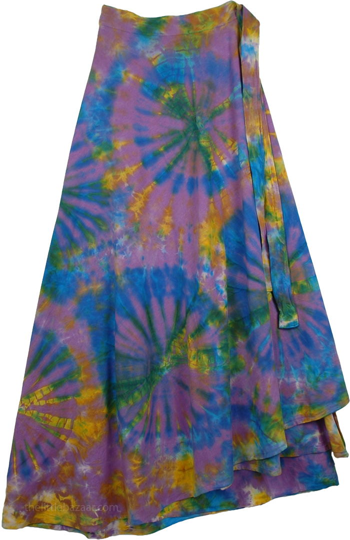 Colorful Tie Dye Wrap Around Long Skirt, Pacifika Wrap Tie Dye Boho Long Skirt