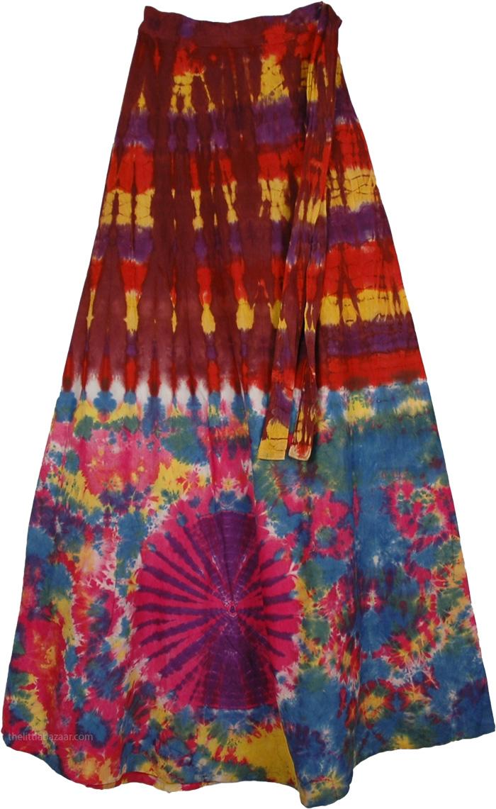 Indian Crater Brown Tie Dye  Long skirt , Buccaneer Tie Dye Wrap Gypsy Skirt