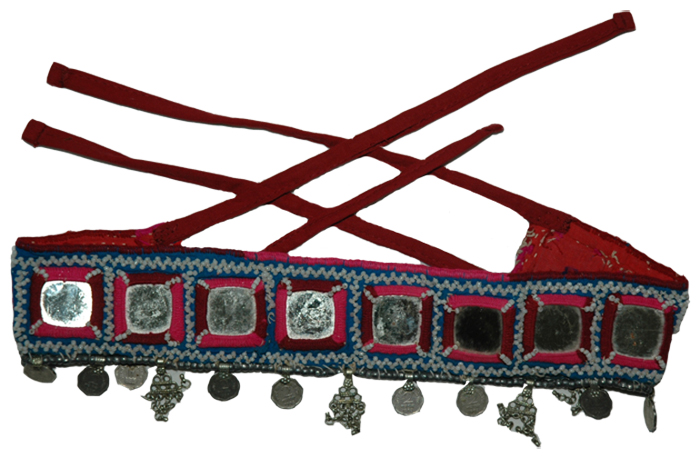 Indian Belly Dance Square Mirror Belt, Tribal Kuchi Banjara Mirror and Coins Belt
