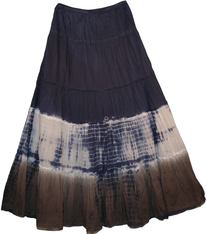 Sky Dye Crinkle Tie Dye Long Skirt , Charade Tie-Dye Casual Long Skirt