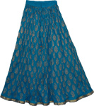 Bahama Blue Crinkle Long Summer Skirt