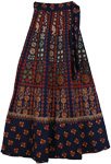 Sun Burst Blue Long Wrap Around Skirt