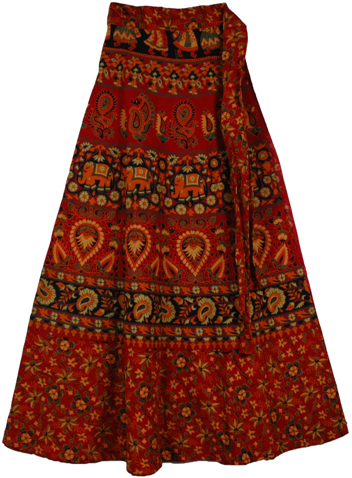 38763ba74 Cotton Red Long Skirt With Ethnic Print, Block Print Red Blood Long Wrap  Skirt