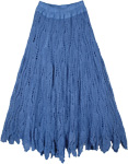 Horizon Blue Crochet Cotton Bohemian Long Skirt