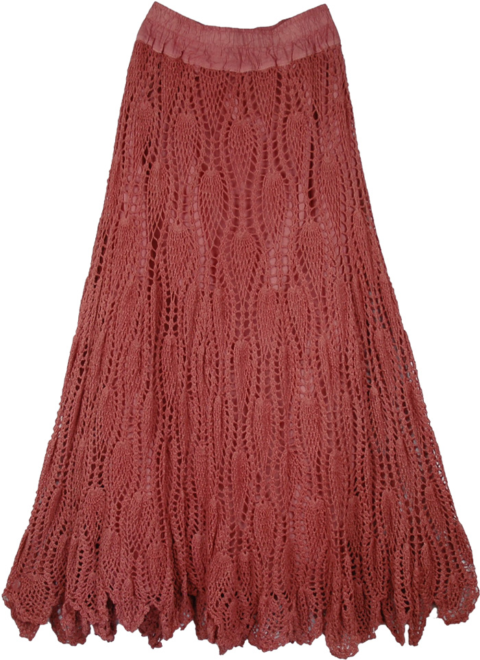 Crochet Bohemian Long Skirt In Copper Rust Crochet Clothing