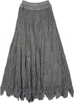 Grey Crocheted Pattern Mid Length  Skirt