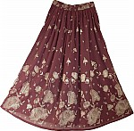 Designer Evening Maroon Golden Sexy Long Skirt