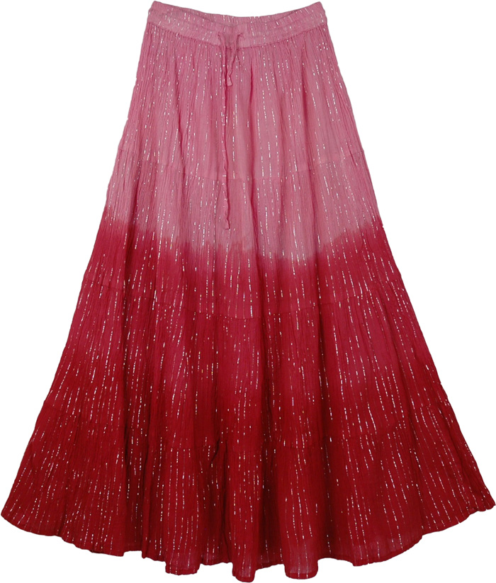 Light and Flowy Pink Summer Skirt, Pretty Ombre Flowy Pink Skirt