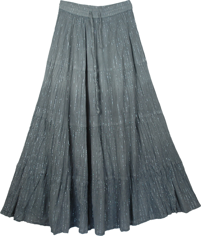 Light and Flowy Grey Shiny Summer Skirt, Ombre Flowy Grey Shimmer Skirt