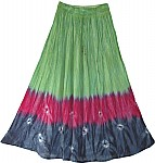 Boho Chic Tie Dye Skirt Green