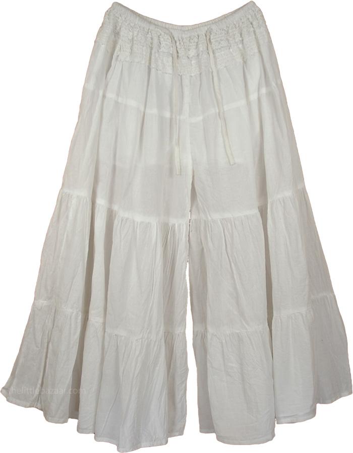 Bohemian White Gaucho Pant Skirts, Groovy Gaucho Split White Skirt