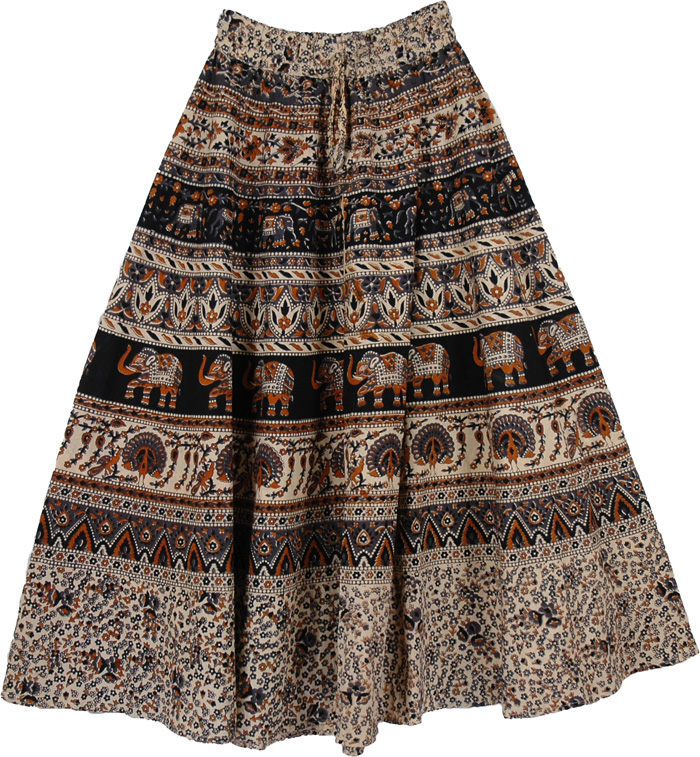 Rainforest Long Cotton Printed Skirt | Clothing