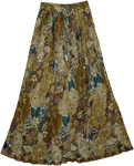 Boho Crinkled Shining Skirt Earthen Floral
