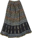 Boho Crinkled Skirt in Black Allure