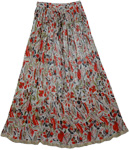 Voodoo Red Boho Crinkled Shining Skirt