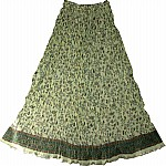 Light Green Crinkle Long Skirt