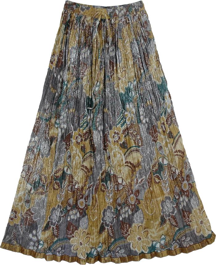 Crinkled Sand Pattern Long Skirt, Boho Crinkled Skirt Sandy Shine
