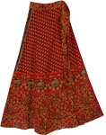 Red Copper Wrap Around Ethnic Skirt