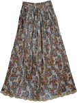 Off White Grey Shimmer Womens Long Skirt