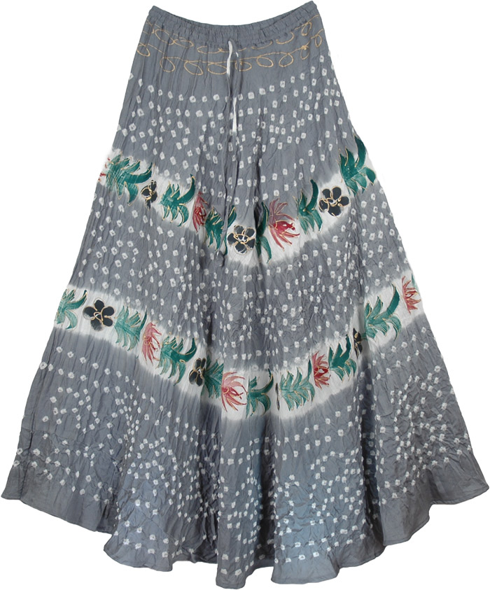 Cotton Grey Tie Dye Long Skirt, Grey Gypsy Tie Dye Long Skirt