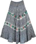 Grey Gypsy Tie Dye Long Skirt