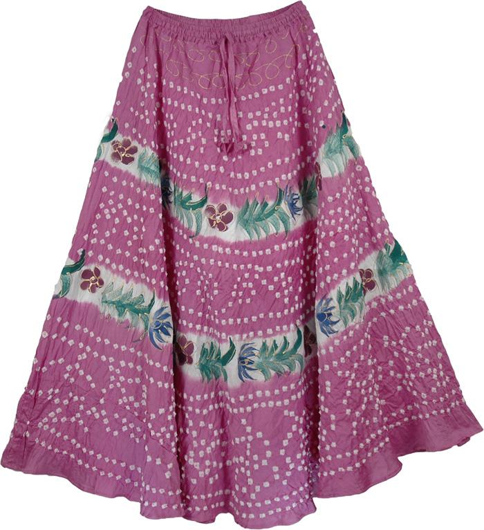 Cotton Pink Romantic Long Skirt, Cannon Hawaii Summer Full Skirt