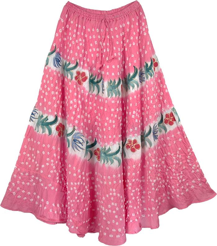 Pink Sexy Long Skirt, Tickle Me Pink Summer Womens Skirt
