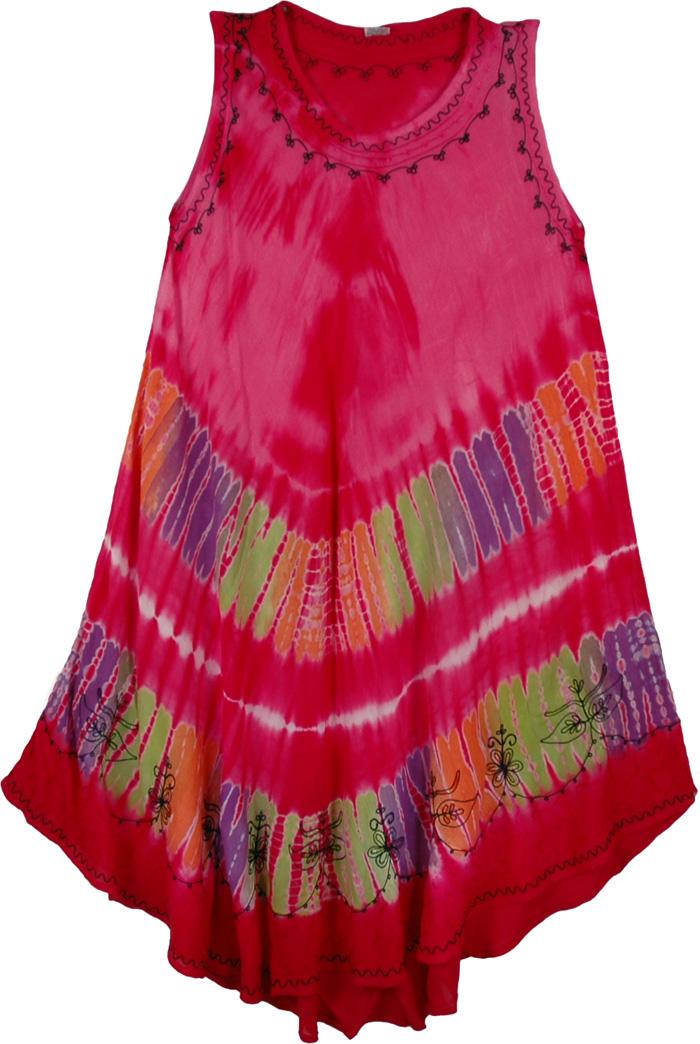 Hot Pink Kaftan Dress, Cabaret Glory Coverup Dress