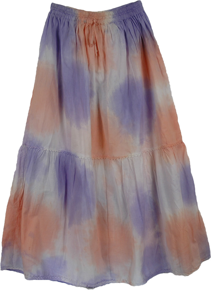 Blue Orange White Tie Dye Skirt, Smoky Summer Long Skirt