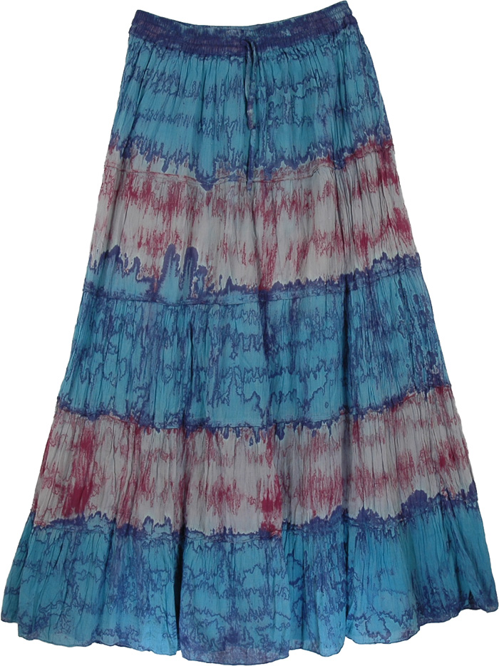 Tie Dye Blue Red Long Skirt, Groovy Tie Dye Long Marble Skirt