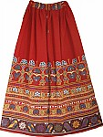 Folkloric Bohemian Red Long Skirt