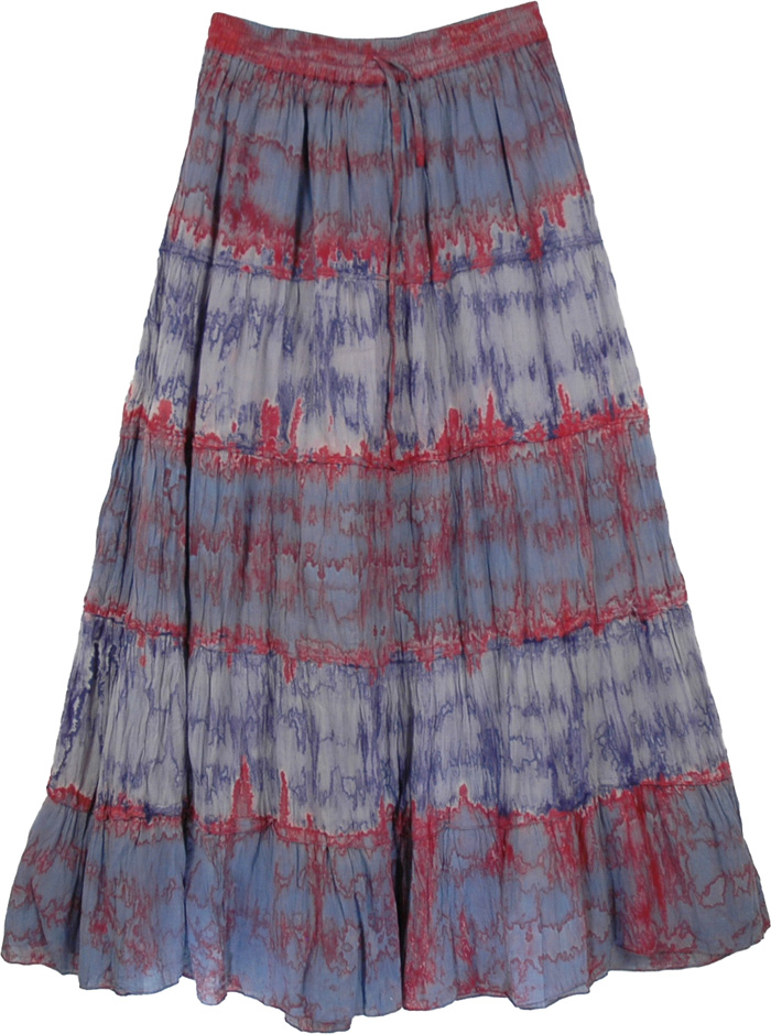 Tie Dye Grey Red Long Skirt, Tie Dye Long Retro Bleed Skirt
